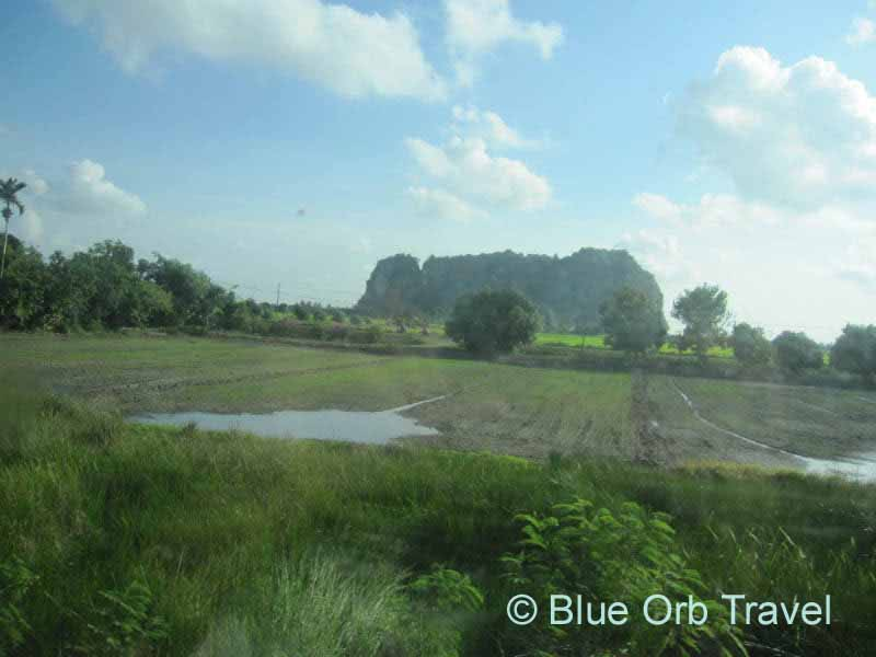 Scenery Along Train Route to Bangkok, Thailand