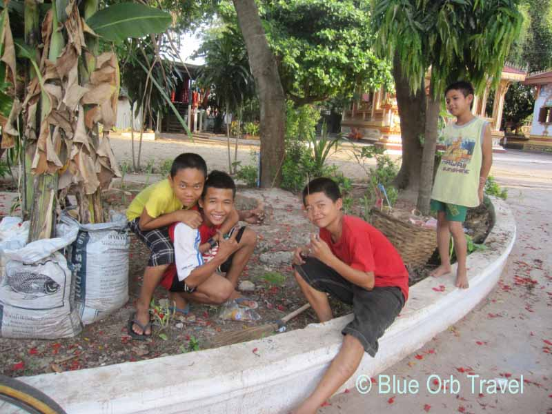 Playful Boys Hamming It Up for the Camera, Vientiane, Laos