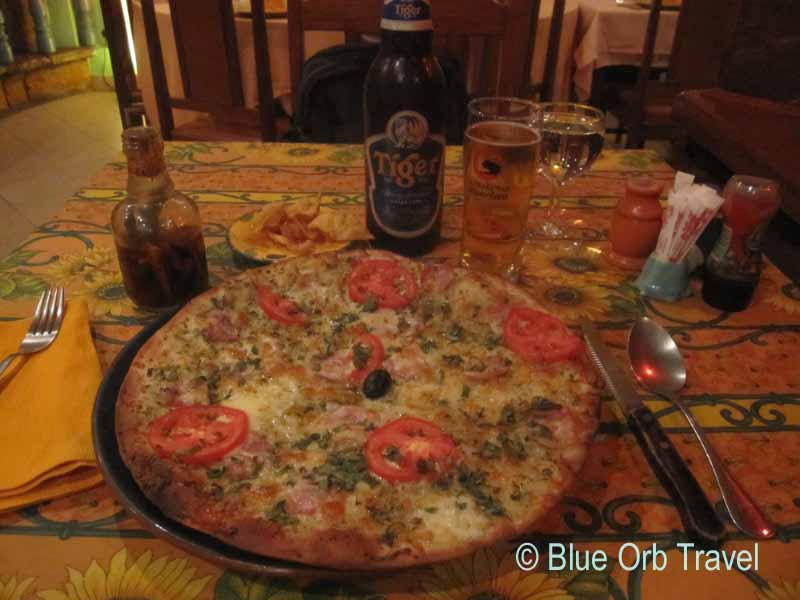 Pizza and Tiger Beer at the Cote d' Azure Restaurant, Vientiane, Laos